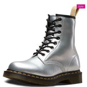 Dr. Martens vegan 1460 silver chrome boots Sz 9
